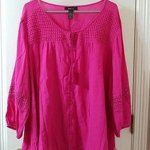 Style & Co. Tunic boho hot pink top